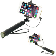 Wired Mobile Phone Selfie Stick with Shutter Button - Black