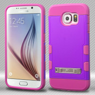 Military Grade Certified TUFF Trooper Hybrid Case for Samsung Galaxy S6 - Purple Hot Pink
