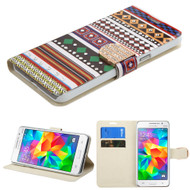 Art Design Portfolio Leather Wallet for Samsung Galaxy Grand Prime - Ethnic Customs