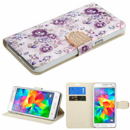 Art Design Portfolio Leather Wallet for Samsung Galaxy Grand Prime - Fresh Purple Flowers