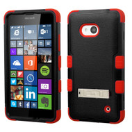 Military Grade Certified TUFF Hybrid Kickstand Case for Microsoft Lumia 640 - Black Red