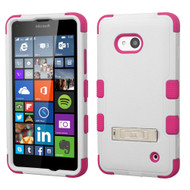 Military Grade Certified TUFF Hybrid Kickstand Case for Microsoft Lumia 640 - White Hot Pink