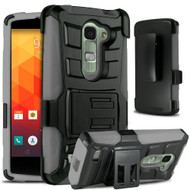 Advanced Armor Hybrid Kickstand Case with Holster for LG Escape 2 / Logos / Spirit - Black Grey