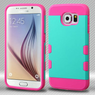 TUFF Trooper Dual Layer Hybrid Case for Samsung Galaxy S6 - Teal Hot Pink