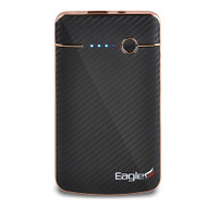 High Capacity Power Bank Battery Charger 4000mAh with Flash Light - Carbon Fiber Black