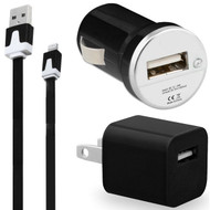 *SALE* 3-IN-1 Lightning Connector Power Adapter Kit - Noodle USB Cable / AC / Car Charger - Black