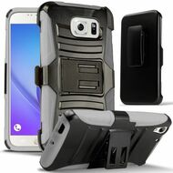 *SALE* Advanced Armor Hybrid Kickstand Case with Holster for Samsung Galaxy Note 5 - Black Grey