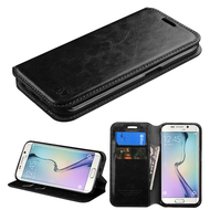 Book-Style Leather Folio Case for Samsung Galaxy S6 Edge Plus - Black