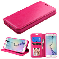 Book-Style Leather Folio Case for Samsung Galaxy S6 Edge Plus - Hot Pink