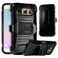 *SALE* Advanced Armor Hybrid Kickstand Case with Holster for Samsung Galaxy S6 Edge Plus - Black 201