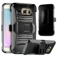 Advanced Armor Hybrid Kickstand Case with Holster for Samsung Galaxy S6 Edge Plus - Black Grey