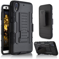Robust Armor Stand Protector Cover with Holster for HTC Desire 650 / 626 / 555 / 550 / 530 - Black