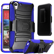 Advanced Armor Hybrid Kickstand Case with Holster for HTC Desire 650 / 626 / 555 / 550 / 530 - Black Blue