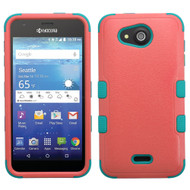 Military Grade Certified TUFF Hybrid Case for Kyocera Hydro Air / Hydro Wave - Pink Teal