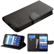 Leather Wallet Shell Case for Kyocera Hydro Air / Hydro Wave - Black