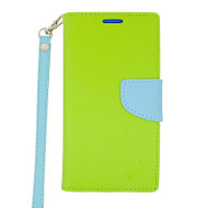 Leather Wallet Shell Case for Kyocera Hydro Air / Hydro Wave - Green