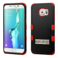 Military Grade Certified TUFF Hybrid Kickstand Case for Samsung Galaxy S6 Edge Plus - Black Red