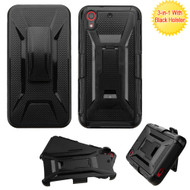 Tough Armor Hybrid Kickstand Case with Holster for HTC Desire 650 / 626 / 555 / 550 / 530 - Black