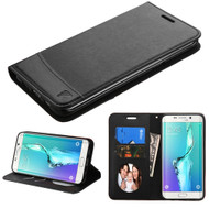 Premium Leather Wallet Book Case for Samsung Galaxy S6 Edge Plus - Black