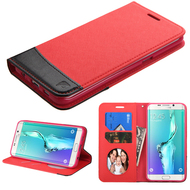 Premium Leather Wallet Book Case for Samsung Galaxy S6 Edge Plus - Red