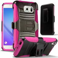 *SALE* Advanced Armor Hybrid Kickstand Case with Holster for Samsung Galaxy Note 5 - Black Hot Pink