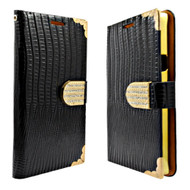 *Sale* Luxury Portfolio Leather Wallet for Samsung Galaxy S6 Edge Plus - Crocodile Black