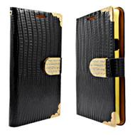 *Sale* Luxury Portfolio Leather Wallet for Samsung Galaxy S6 Edge Plus - Crocodile Black