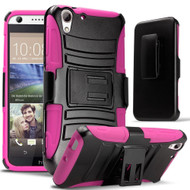 *Sale* Advanced Armor Hybrid Kickstand Case with Holster for HTC Desire 650 / 626 / 555 / 550 / 530 - Black Hot Pink