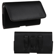 Leather Folio Horizontal Pouch Case - Black