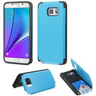 Credit Card Hybrid Kickstand Case for Samsung Galaxy Note 5 - Blue