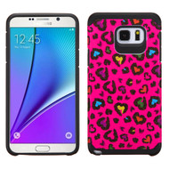 Hybrid Multi-Layer Armor Case for Samsung Galaxy Note 5 - Glittering Leopard Hot Pink