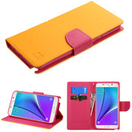 Diary Leather Wallet Case for Samsung Galaxy Note 5 - Yellow