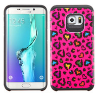 Hybrid Multi-Layer Armor Case for Samsung Galaxy S6 Edge Plus - Glittering Leopard Hot Pink