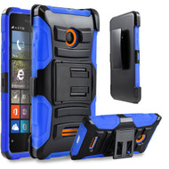 *Sale* Advanced Armor Hybrid Kickstand Case with Holster for Microsoft Lumia 435 - Black Blue