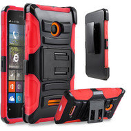 *Sale* Advanced Armor Hybrid Kickstand Case with Holster for Microsoft Lumia 435 - Black Red