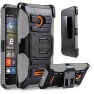 *Sale* Advanced Armor Hybrid Kickstand Case with Holster for Microsoft Lumia 435 - Black Grey