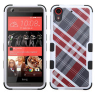 Military Grade Certified TUFF Image Hybrid Case for HTC Desire 650 / 626 / 555 / 550 / 530 - Plaid Red