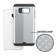 Perforated Hybrid Armor Case for Samsung Galaxy Note 5 - Silver