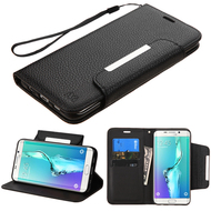 *Sale* Designer Leather Wallet Shell Case for Samsung Galaxy S6 Edge Plus - Black