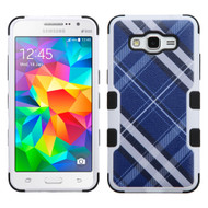 Military Grade Certified TUFF Image Hybrid Case for Samsung Galaxy Grand Prime - Plaid Blue
