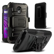 Advanced Armor Hybrid Kickstand Case with Holster for Motorola Moto G 3rd Generation - Black