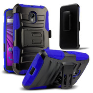 *SALE* Advanced Armor Hybrid Kickstand Case with Holster for Motorola Moto G 3rd Generation - Black Blue