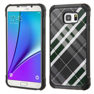 Tough Anti-Shock Hybrid Case for Samsung Galaxy Note 5 - Plaid Green