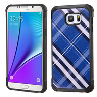 Tough Anti-Shock Hybrid Case for Samsung Galaxy Note 5 - Plaid Blue