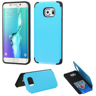 Credit Card Hybrid Kickstand Case for Samsung Galaxy S6 Edge Plus - Blue