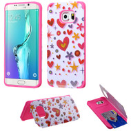 Credit Card Hybrid Kickstand Case for Samsung Galaxy S6 Edge Plus - Heart Graffiti