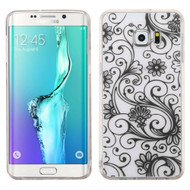Floral Rubberized Crystal Case for Samsung Galaxy S6 Edge Plus - Black