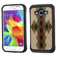 Tough Anti-Shock Hybrid Case for Samsung Galaxy Core Prime / Prevail LTE - Vintage Argyle