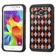 Tough Anti-Shock Hybrid Case for Samsung Galaxy Core Prime / Prevail LTE - Classic Argyle