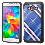 Tough Anti-Shock Hybrid Case for Samsung Galaxy Grand Prime - Plaid Blue